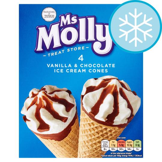 Ms. Molly's Vanilla & Chocolate Cones 4X100ml