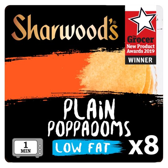 Sharwoods Plain Poppadoms Low Fat 8 Pack 94G