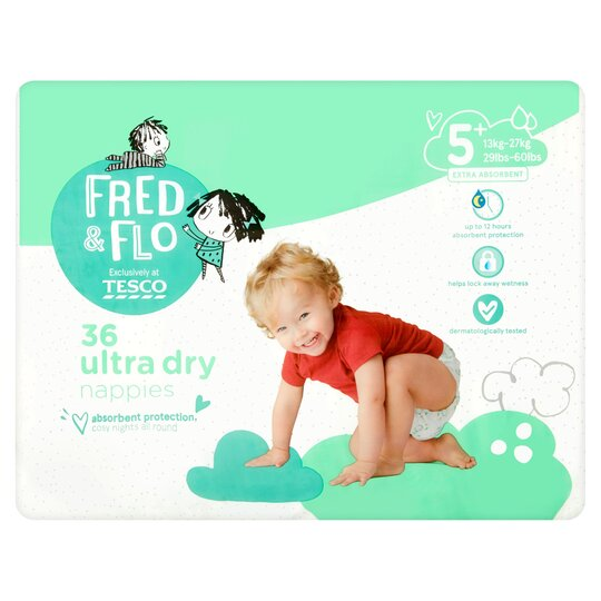 Fred & Flo Ultra Dry Size 5+ Nappies Economy Pack 36