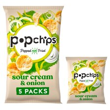 image 1 of Popchips Sour Cream & Onion Potato Snacks 5 X 17G