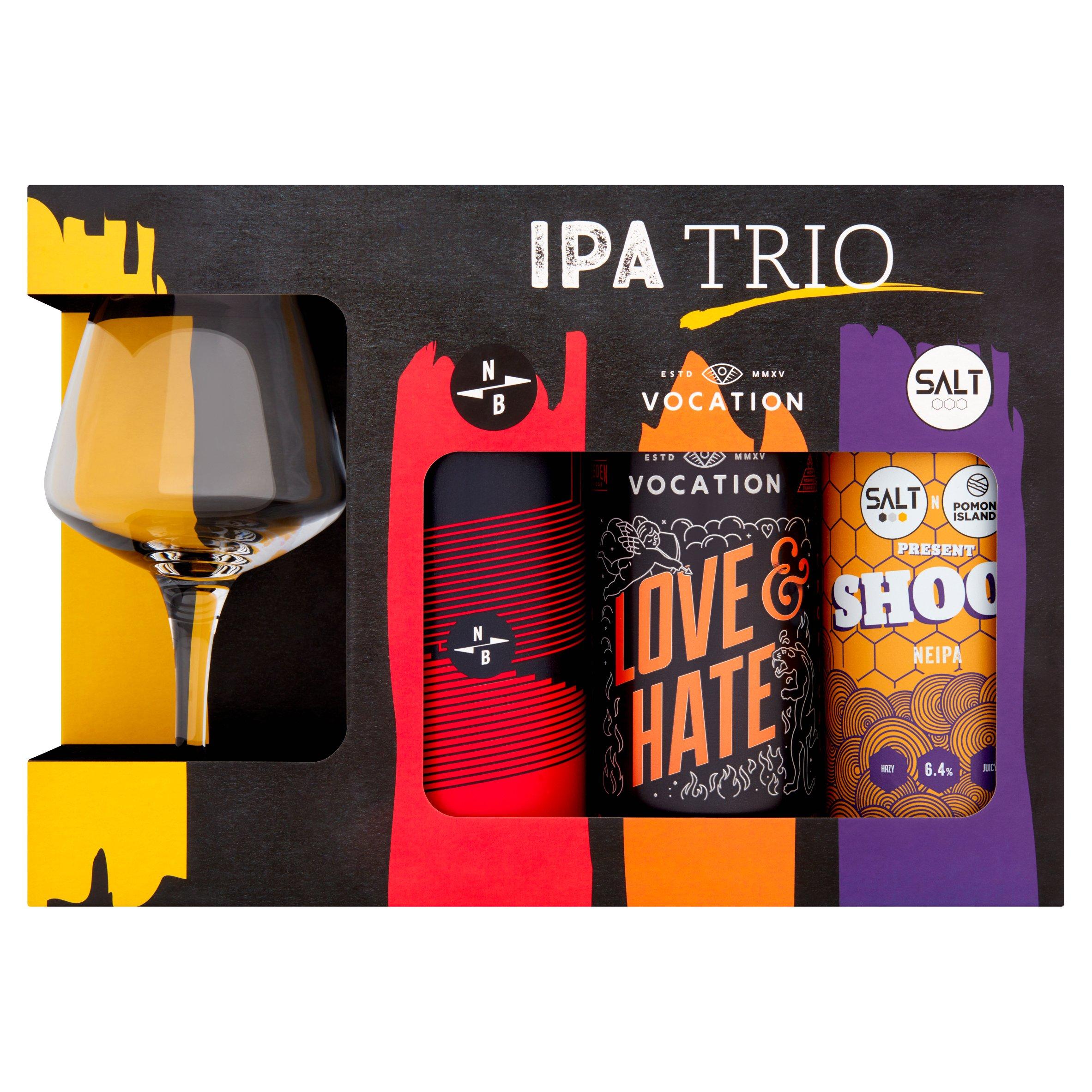 Ipa Trio Craft Beer & Teku Glass Gift Set