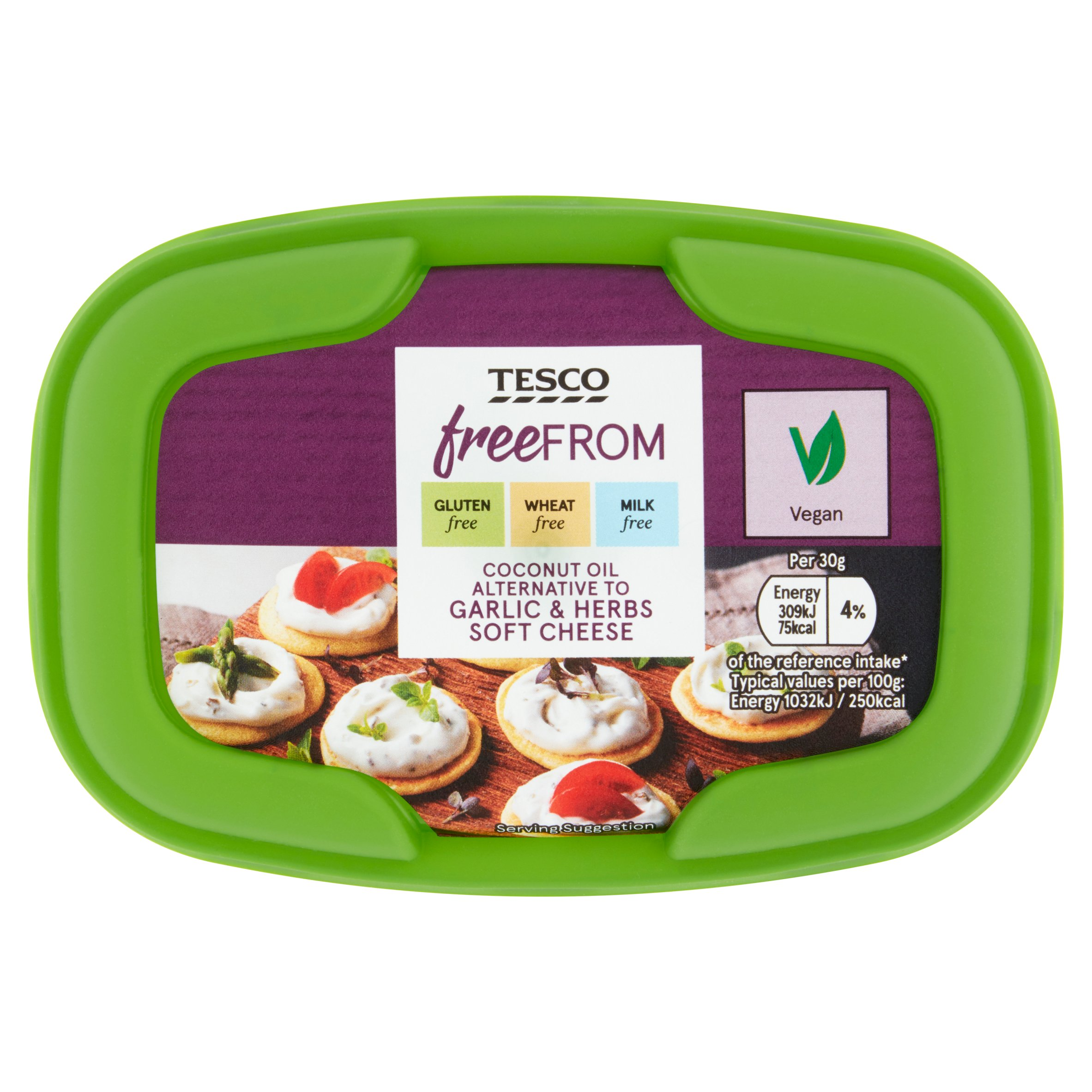 Tesco Free From Soft Cheese With Garlic & Herbs 170G