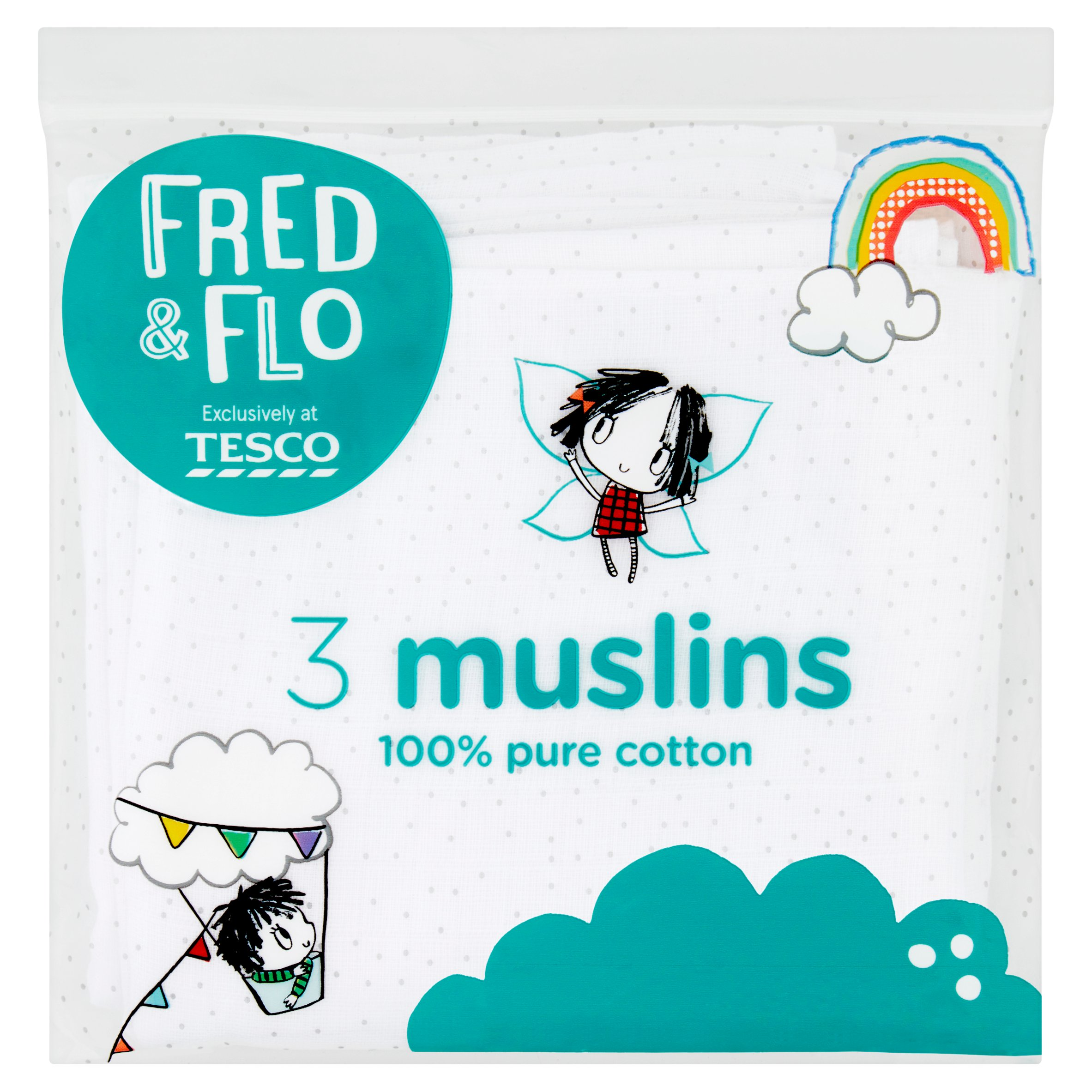 Fred & Flo Muslin Cloths White 3 Pack