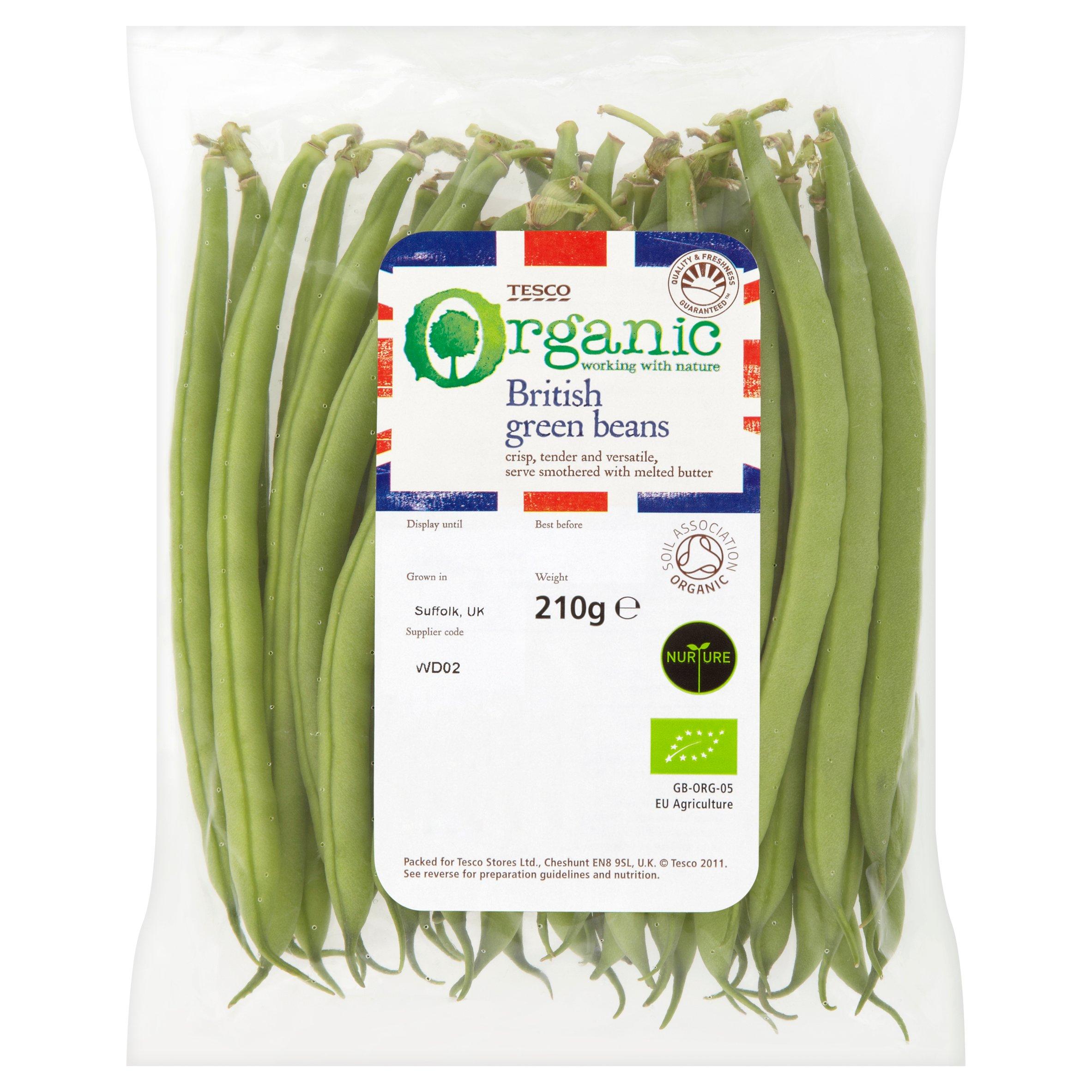 Tesco Organic Green Beans 225G
