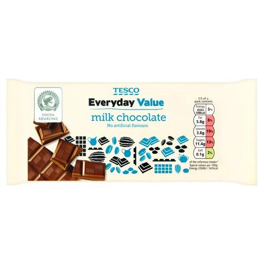 Tesco Everyday Value Milk Chocolate Bar 100g Tesco Groceries