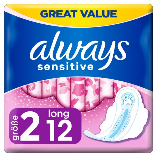 image 1 of Always Sensitive Long Size 2 Sanitary Towels With Wings 12 Pack
