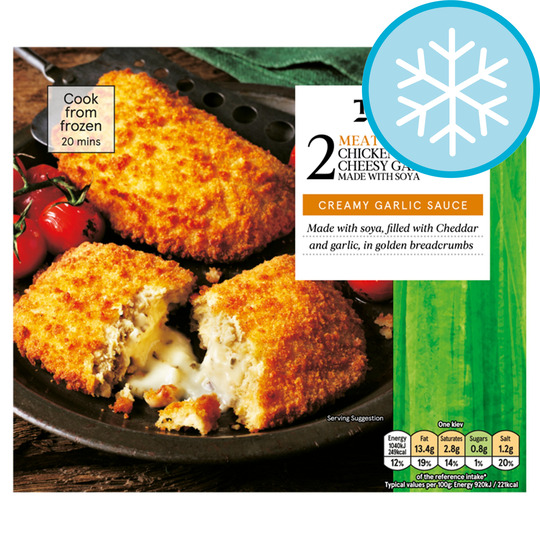 Tesco Meat Free 2 Chicken Style Cheesy Garlic Kievs 250G