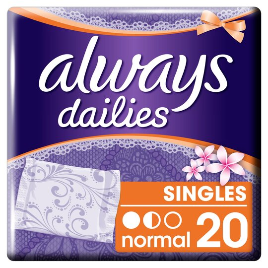 image 1 of Always Dailies Folded & Wrapped Normal 20 Panty Liners