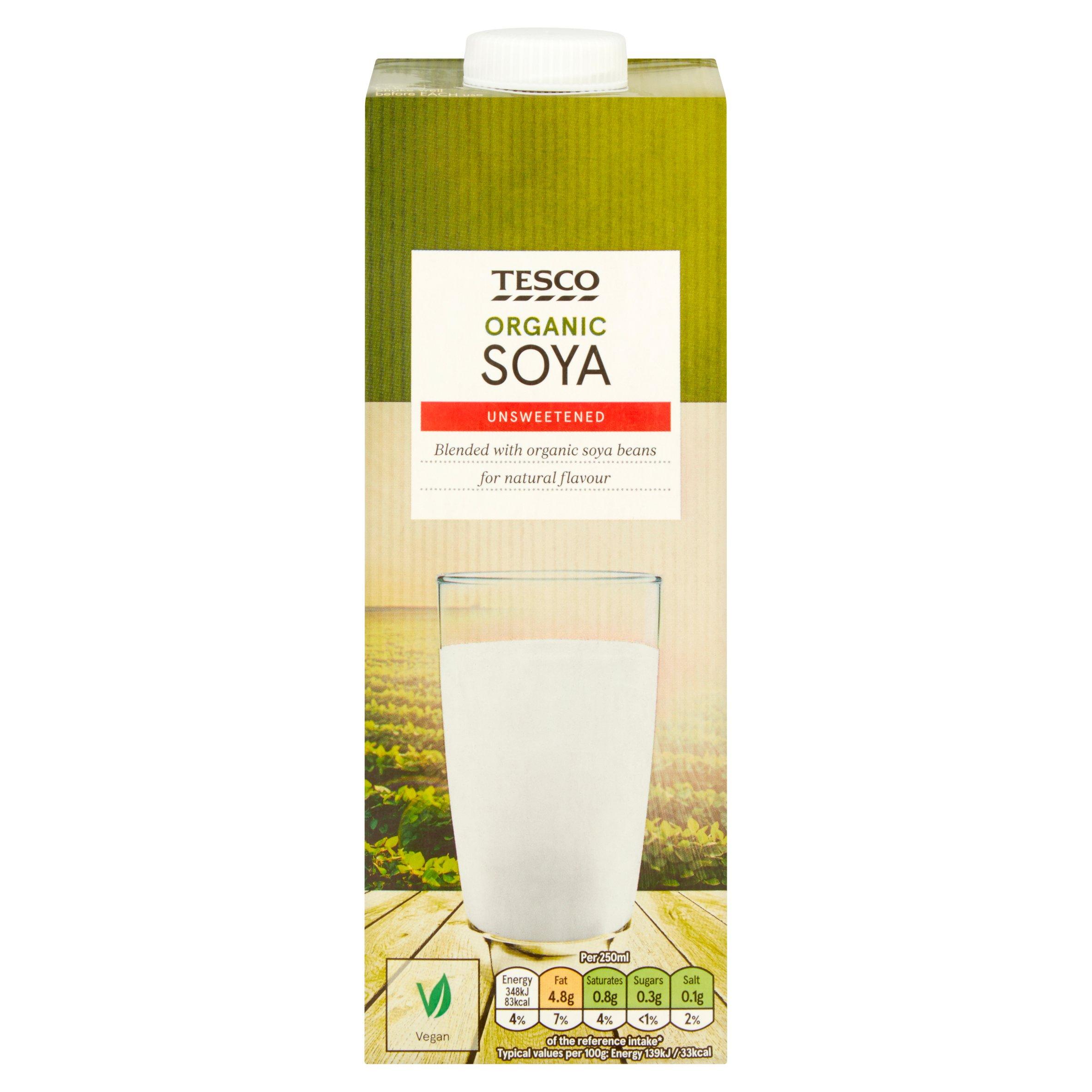 Tesco Organic Longlife Soya Drink Unsweetened 1Ltr