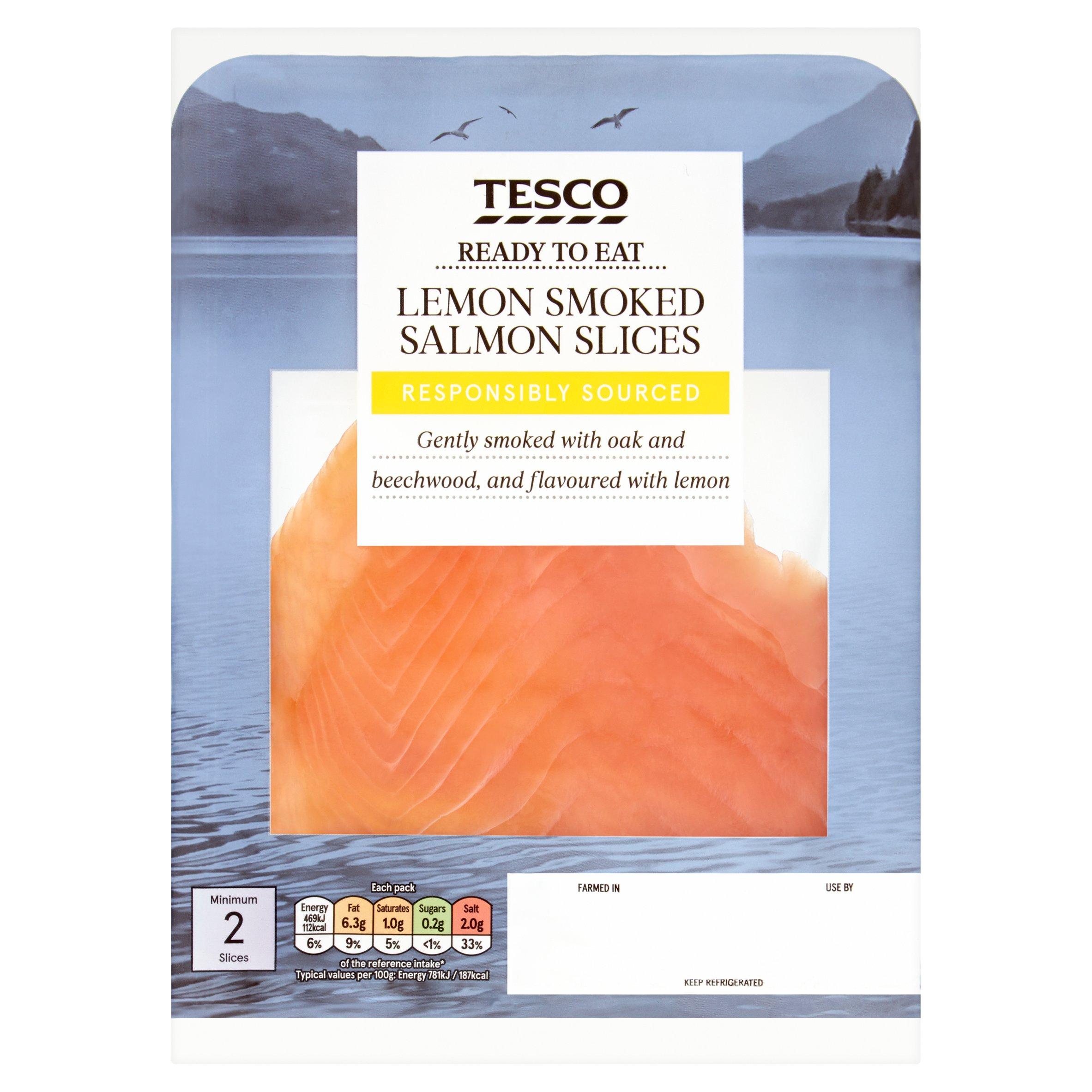 Tesco Lemon Smoked Salmon Slices 60G