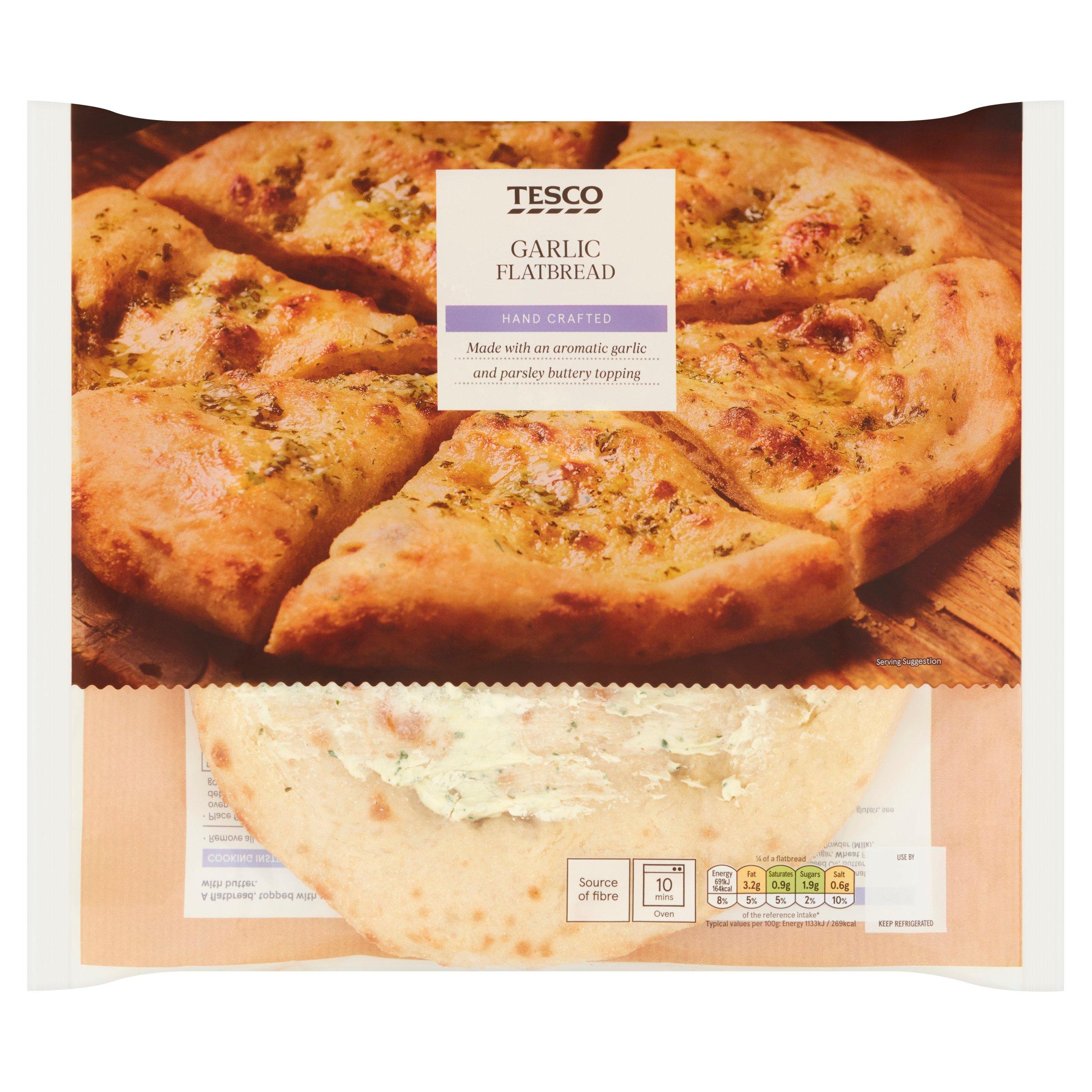 Tesco Garlic Flatbread 255G