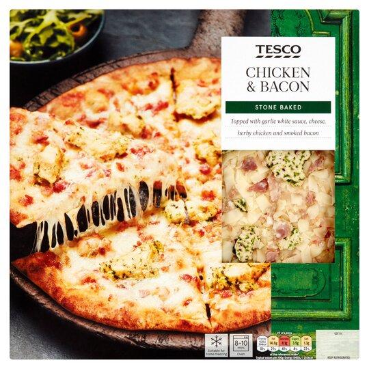 Tesco Stonebaked Chicken Bacon Pizza 293g