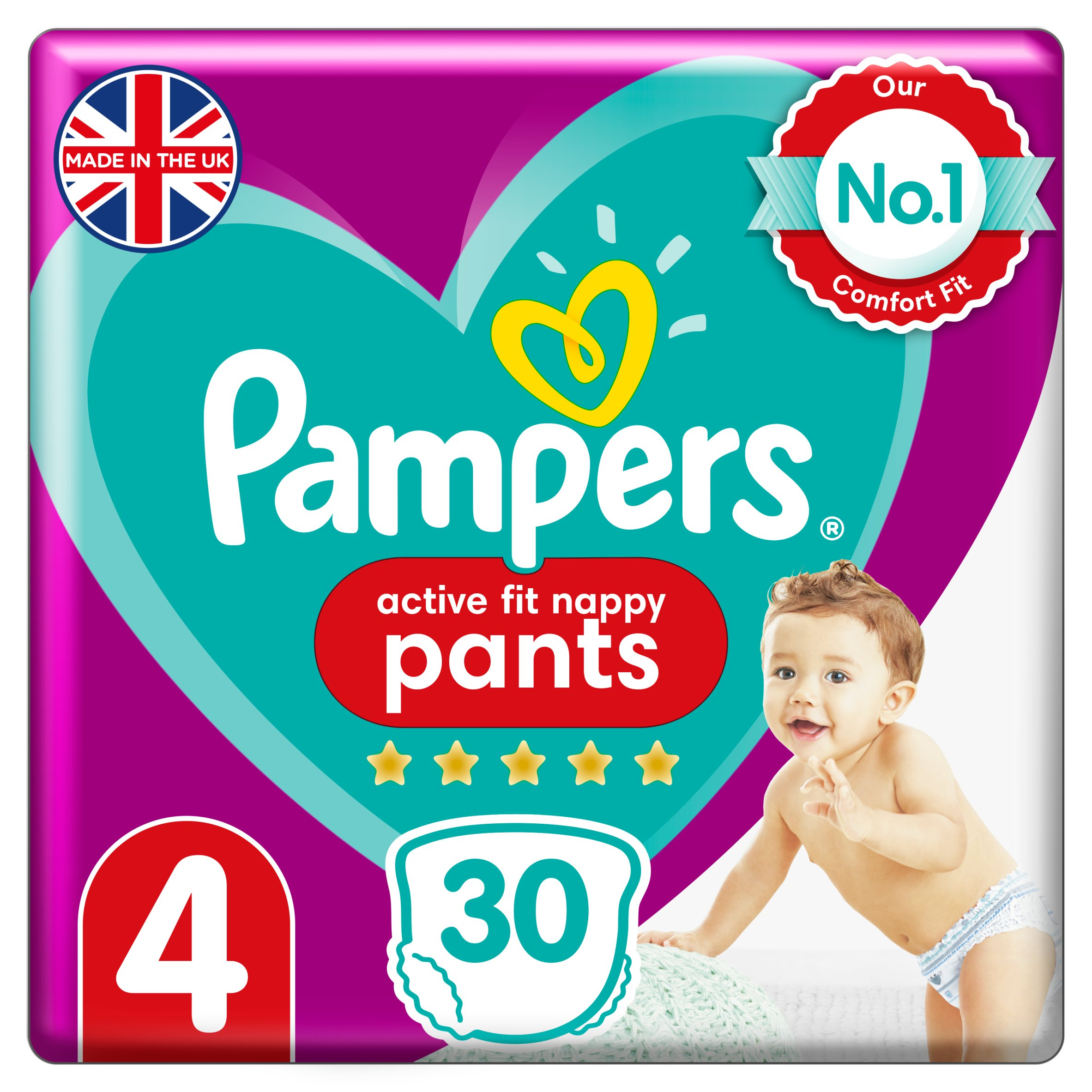Pampers Active Fit 30 Nappy Pants Size 4 Essential Pack