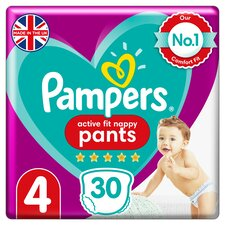 image 1 of Pampers Active Fit 30 Nappy Pants Size 4 Essential Pack