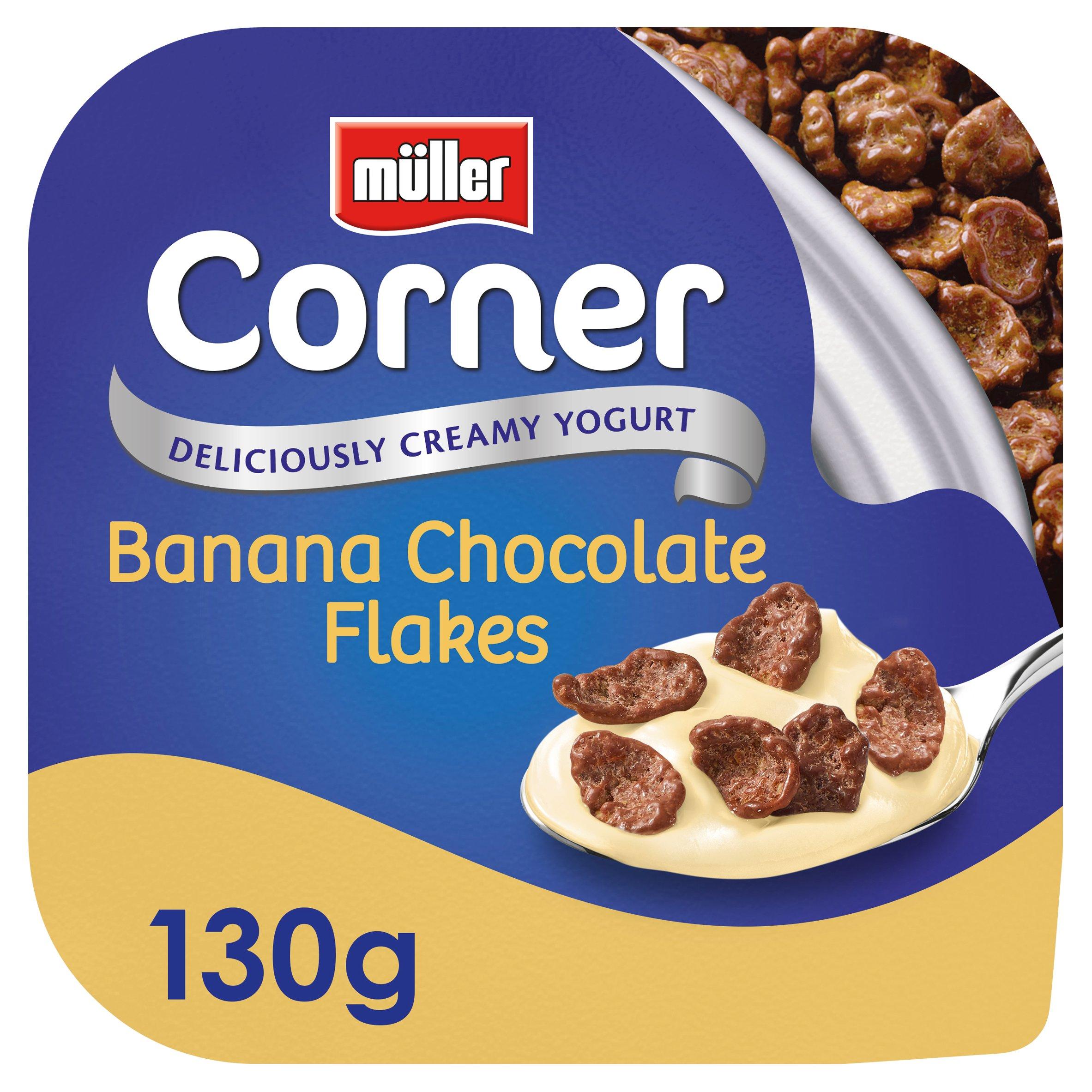 Muller Corner Banana Yogurt Chocolate Flakes 130G