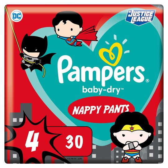image 1 of Pampers Baby Dry Dc Heroes Nappy Pants Size 4 30 Pack
