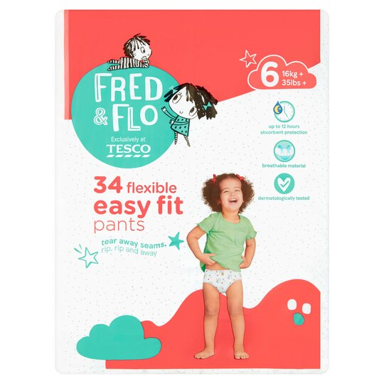 Fred & Flo Easy Fit Size 6 Nappy Pant 34 Pack