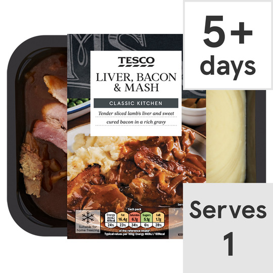 Tesco Liver Bacon & Mash 450G