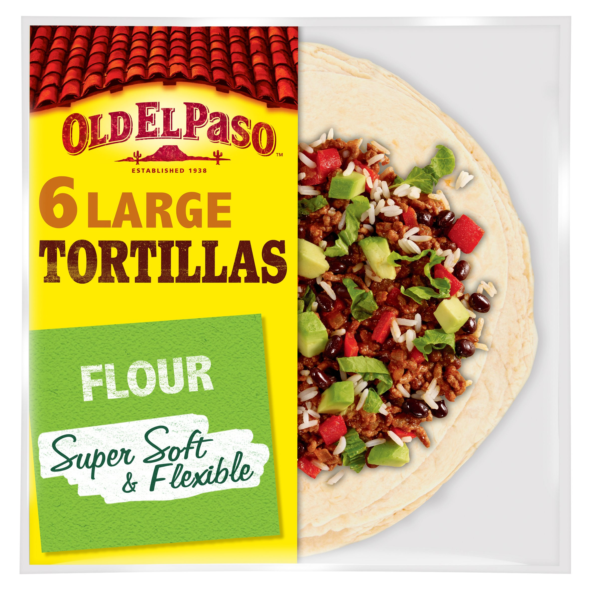 Old El Paso Large Super Soft Flour Tortillas 6 Pack 350G