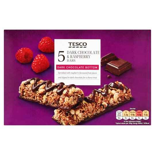 Tesco 5 Chocolate Raspberry Bars 115g