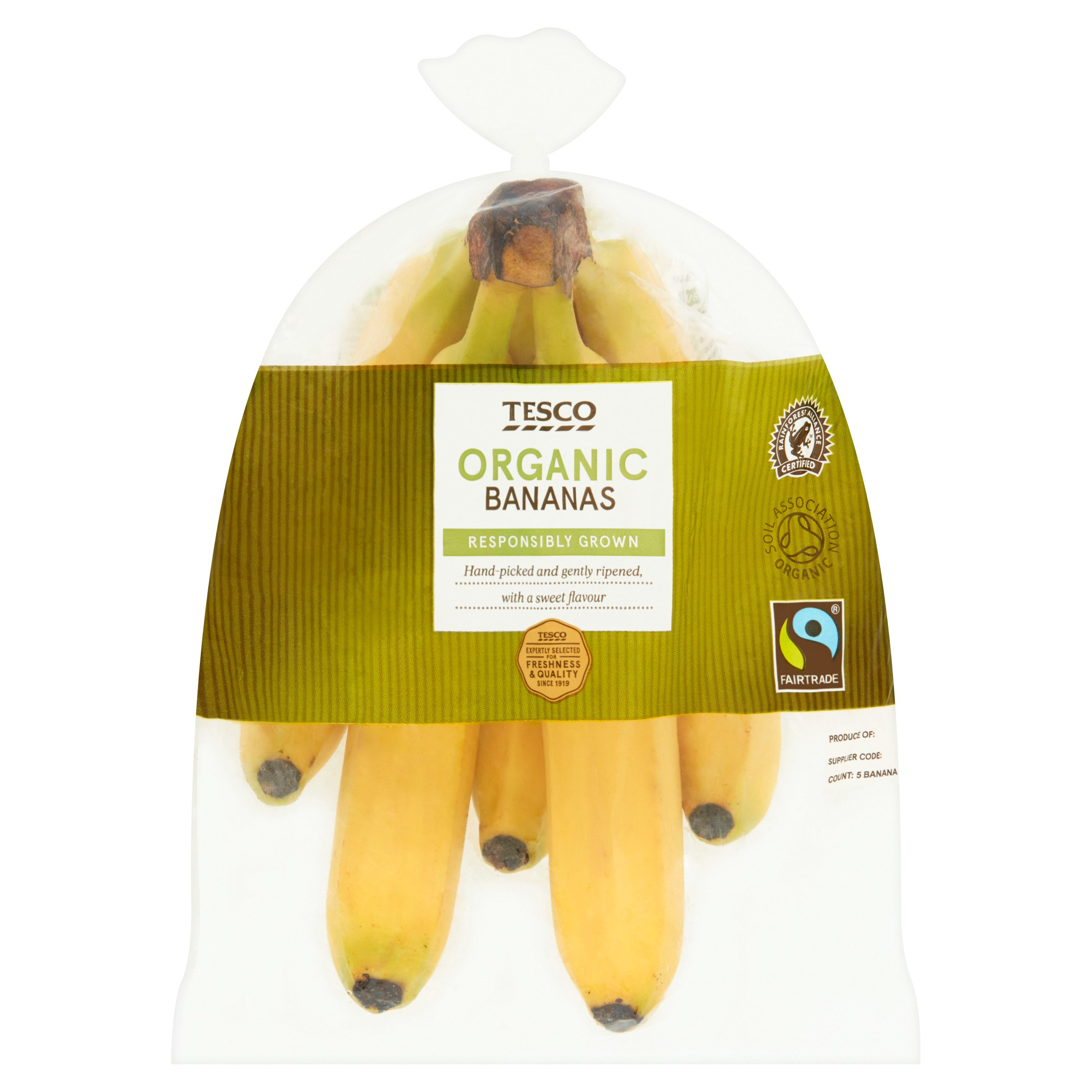 Tesco Organic Fair Trade Bananas 5 Pack