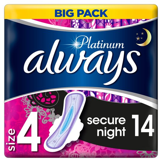 image 1 of Always Platinum Secure Night Time Size 4 Sanitary Towels Wings 14