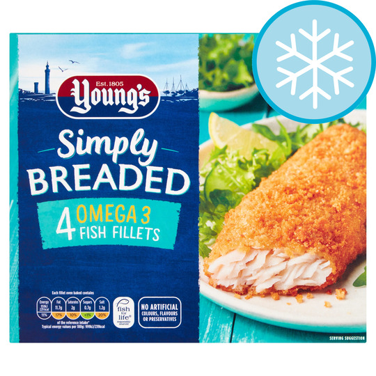 Youngs Simply Breaded Omega 3 4 Fish Fillets 400G