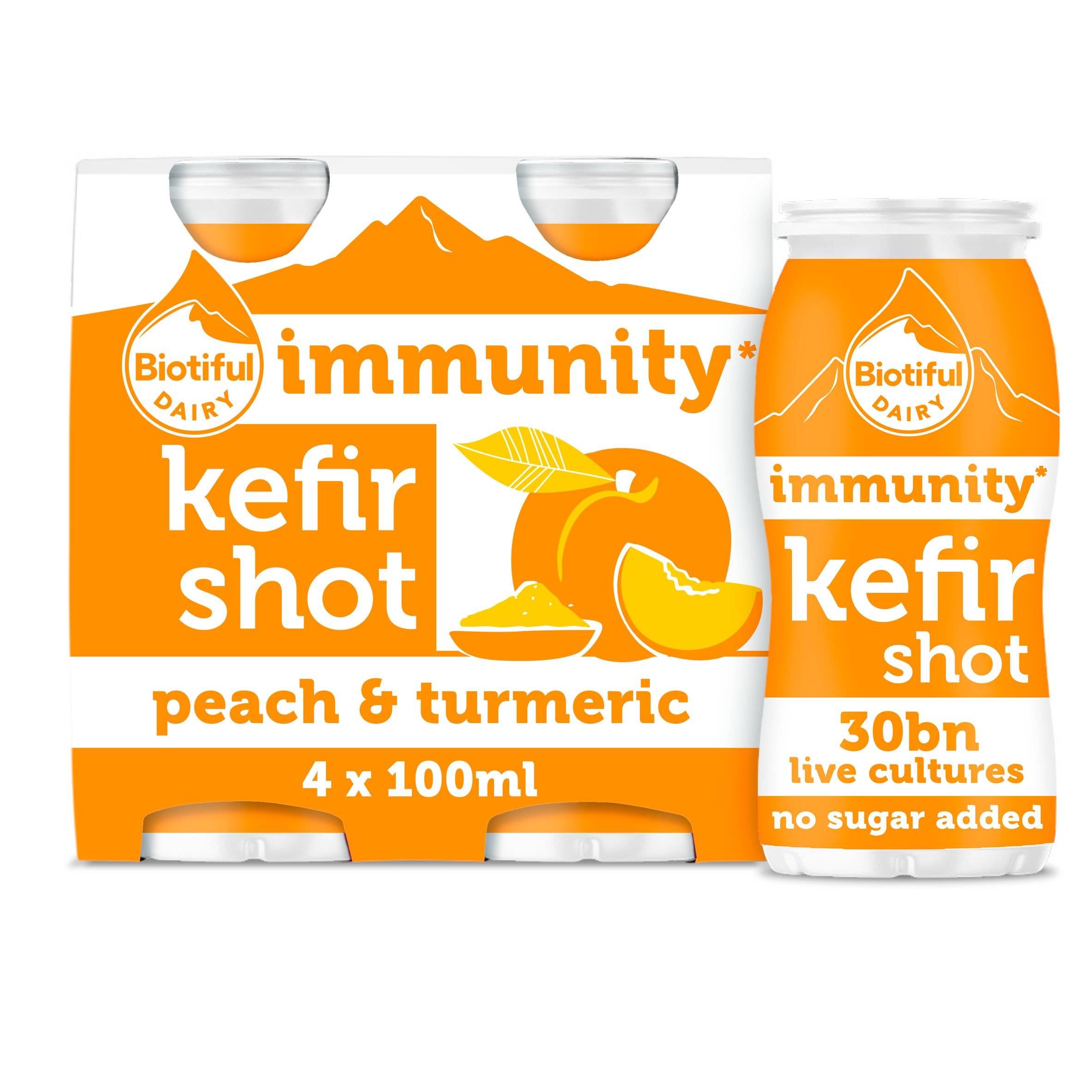 Biotiful Dairy Kefir Shot Peach & Turmeric 4X100ml