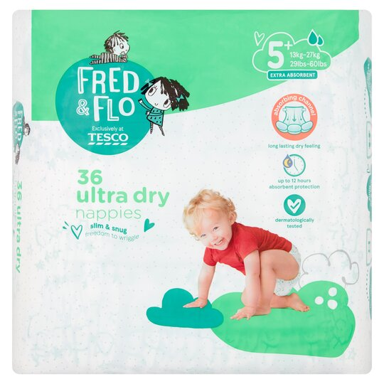 Fred & Flo 36 Ultra Dry Nappies 5+
