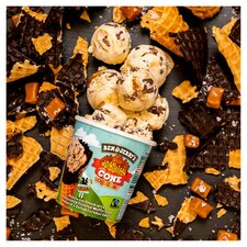 image 3 of Ben & Jerry's Vanilla Ice Cream Chocolate Waffle Cone Salted Caramel 465Ml