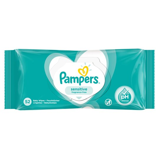 image 1 of Pampers Sensitive Baby Wipes 52 Pack