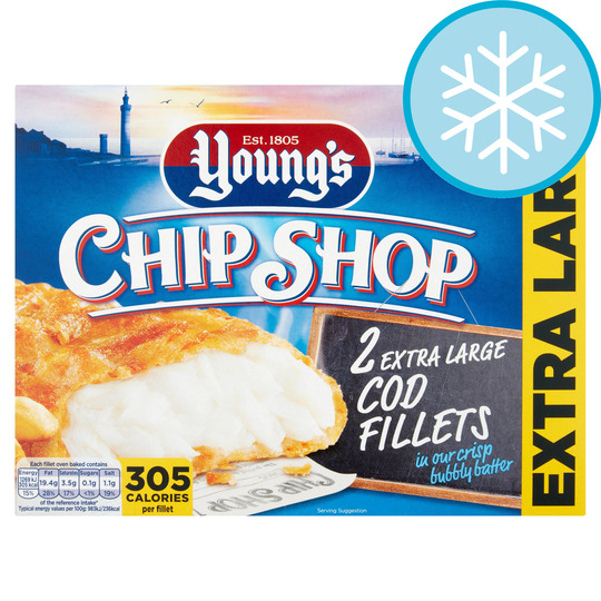 Youngs Chip Shop 2 Extra Large Cod Fillets In Batter 300G