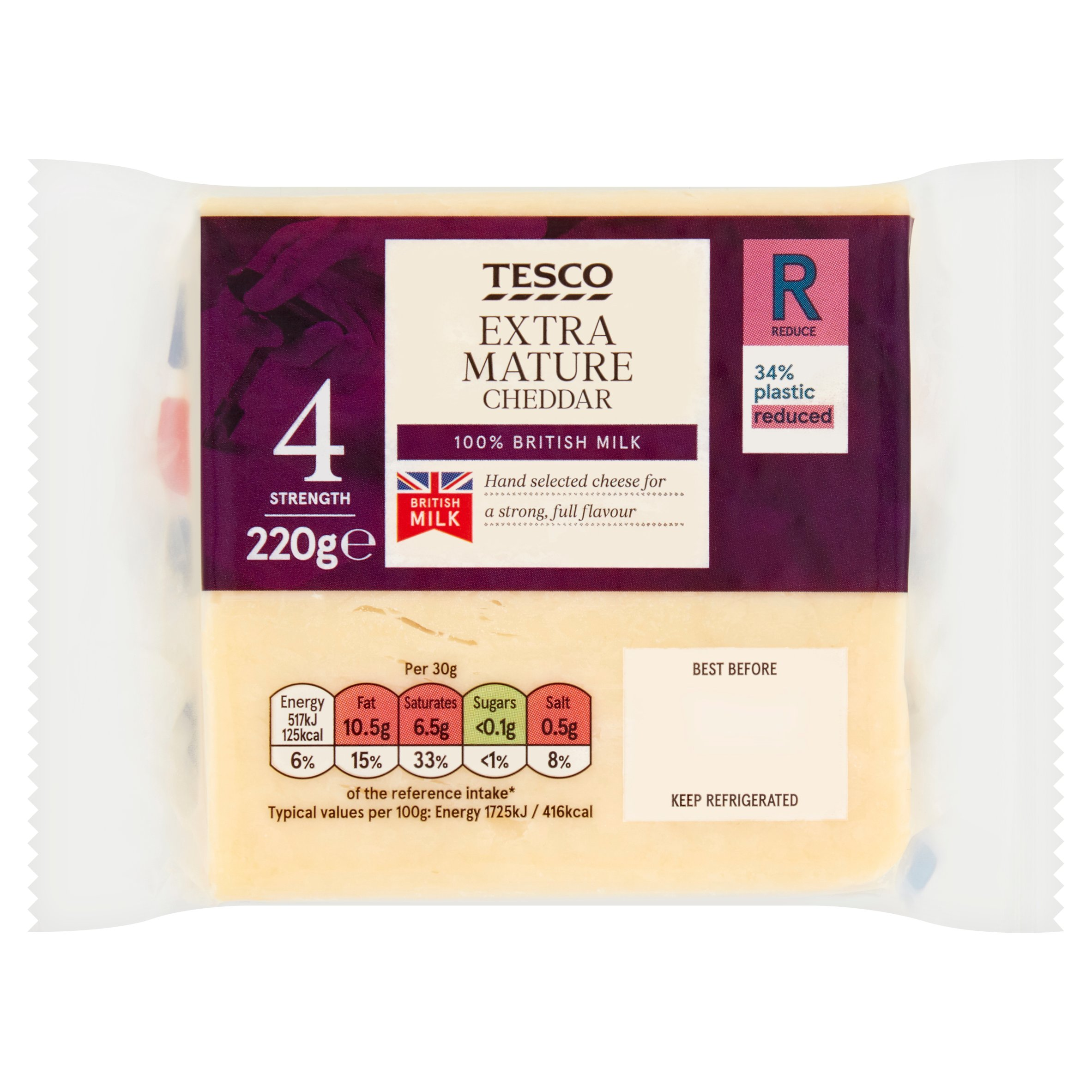 Tesco British Extra Mature Cheddar Cheese 220G