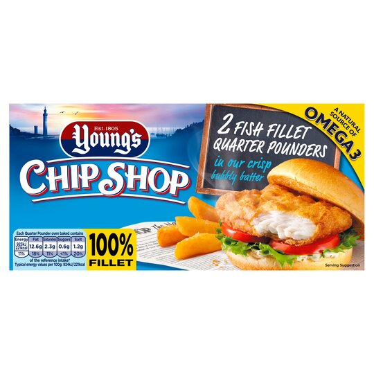 Youngs Chip Shop 2 Fish Fillet Quarter Pounders 227G