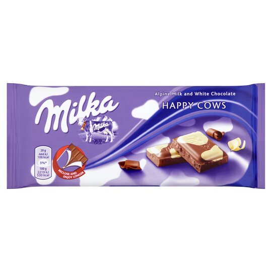 Milka Happy Cowsmilk And White Chocolate Bar 100g Tesco