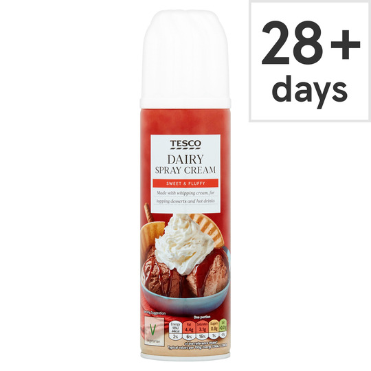 Tesco Original Real Dairy Spray Cream 250g Tesco Groceries