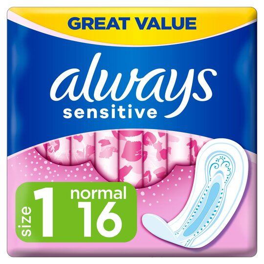 image 1 of Always Sensitive Normal Size 1 Sanitary Towels 16 Pack