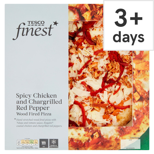 Tesco Finest Spicy Chicken &C/Grill Red Pepper Pizza 410G