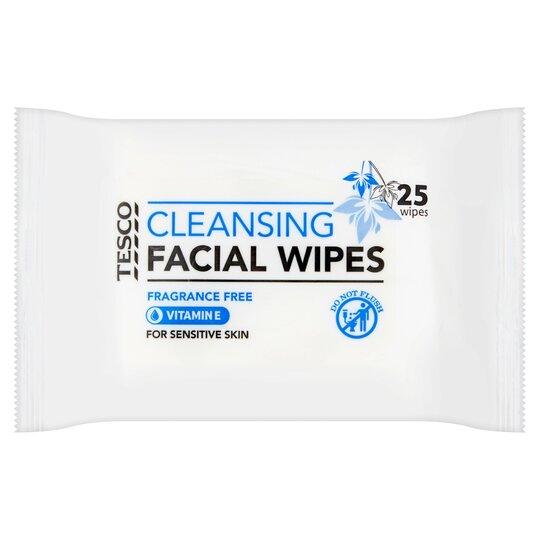 Tesco Sensitive Facial Wipes 25'S