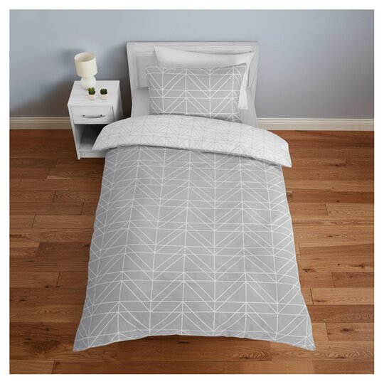 Tesco Grey Geo Duvet Set Single Tesco Groceries