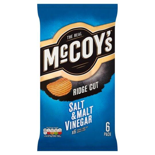 image 1 of Mccoy's Salt & Malt Vinegar Crisps 6X25g