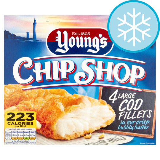 Youngs Chip Shop 4 Large Cod Fillets 440G