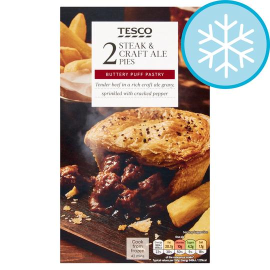 Tesco 2 Steak & Craft Ale Pies 440G - Tesco Groceries