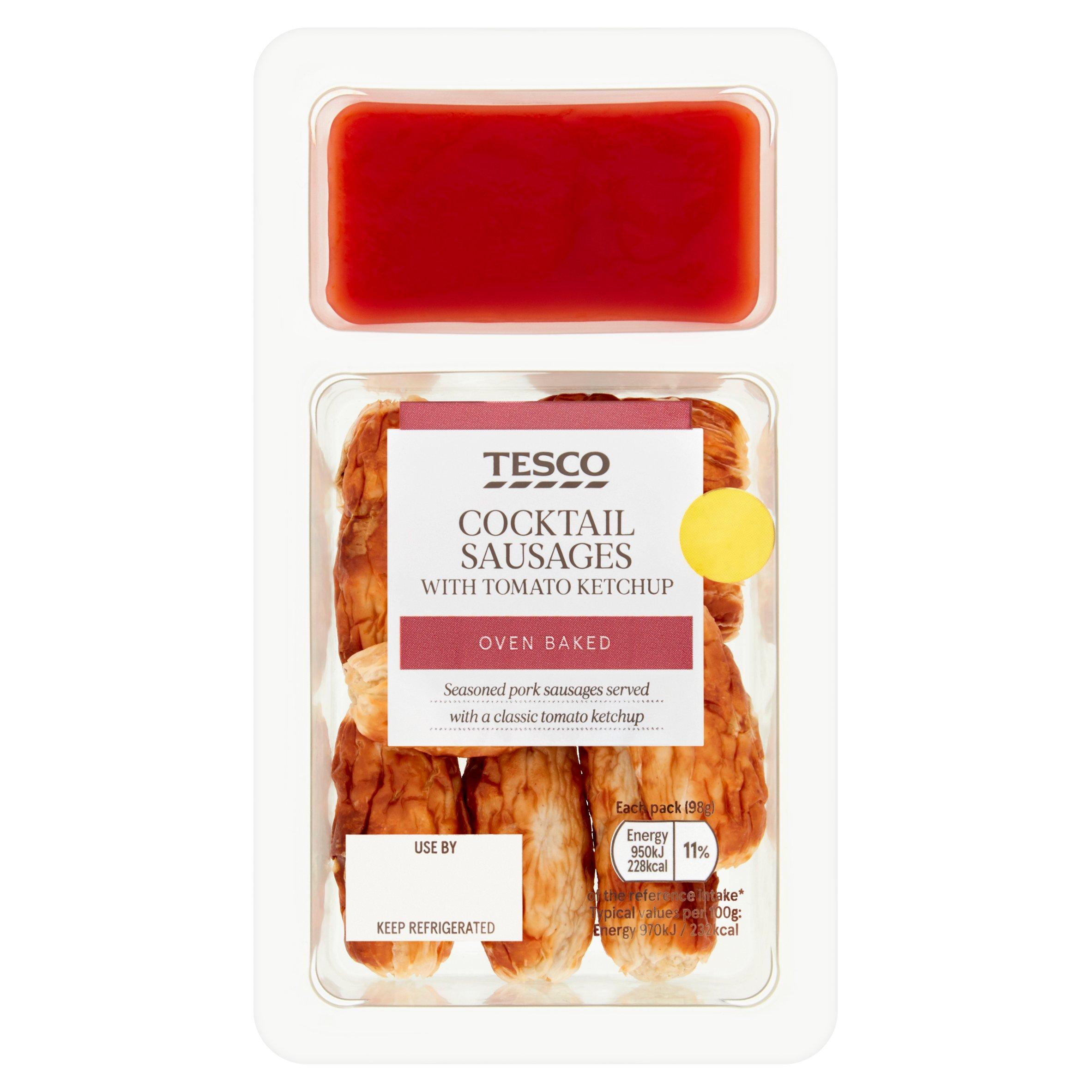 Tesco Cocktail Sausages & Ketchup Dip 98G