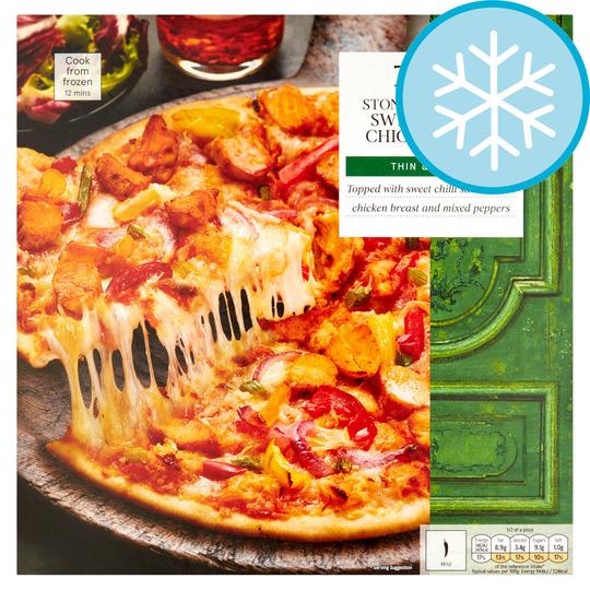 Tesco Stonebaked Thin Sweet Chilli Chicken Pizza 330g Price Marked