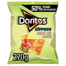 image 1 of Doritos Dippers Hint Of Lime Tortilla Chips 270G