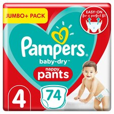 image 1 of Pampers Size 4 Baby Dry Nappy Pants 74 Jumbo Pack