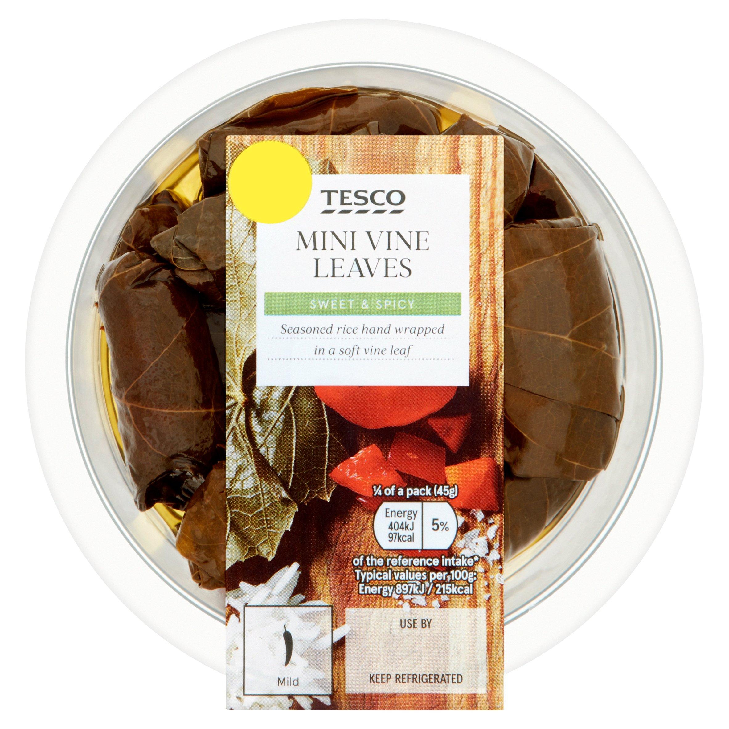 Tesco Mini Sweet & Spicy Vineleaves 182G