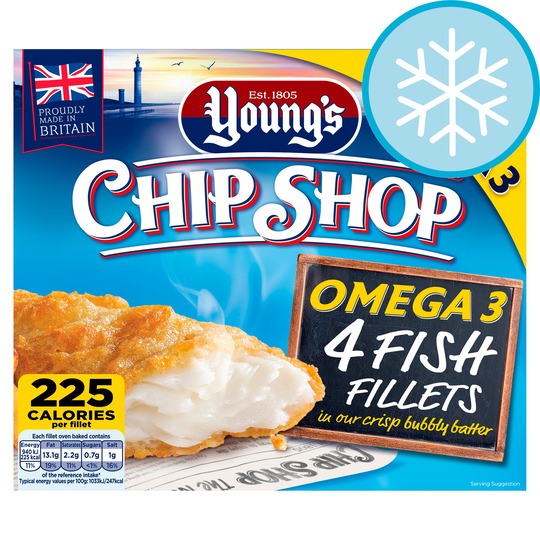 Youngs Chip Shop 4 Omega 3 Fish Fillets