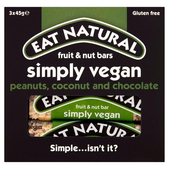Eat Natural Simply Vegan Bars 3 X 45G